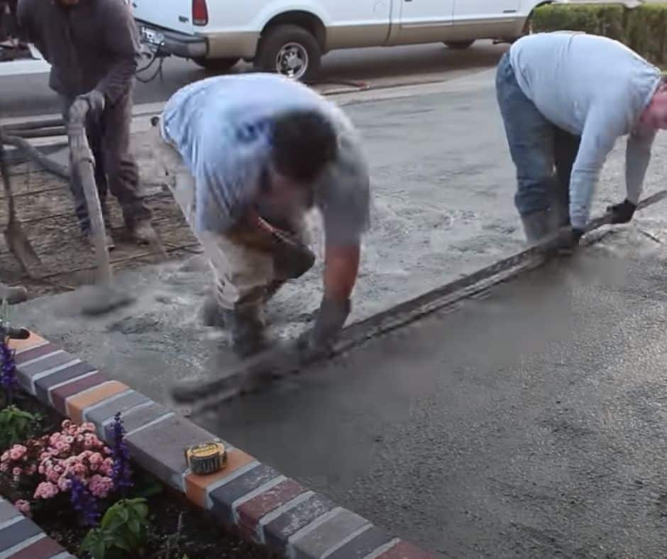 New driveway being poured